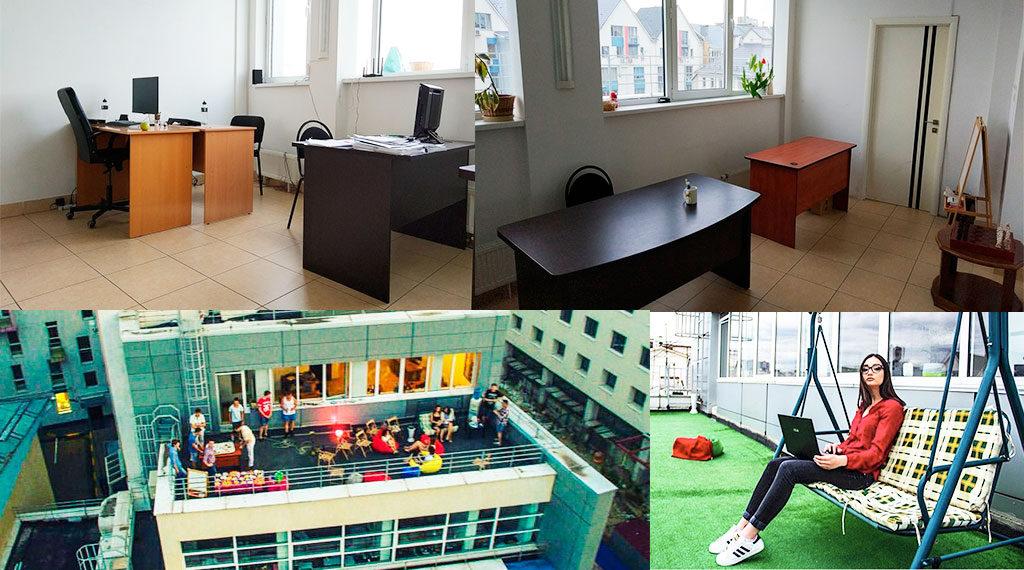 Рабочие места, балкон в коворкинге Office 61